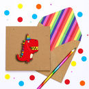 Children's Red Dinosaur Personalised Birthday Card