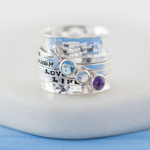 Personalised Birthstone Spinner Ring - july birthstone