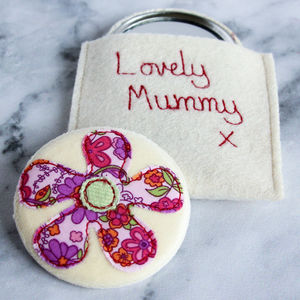 Personalised Flower Handbag Mirror - compact mirrors