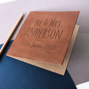 Engraved Leather Anniversary Card - anniversary cards
