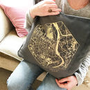 Personalised Velvet Metallic Map Cushion