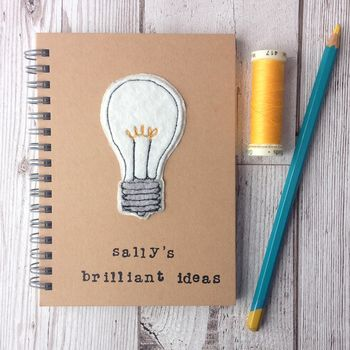 Personalised, Sewn, Brilliant Ideas Notebook
