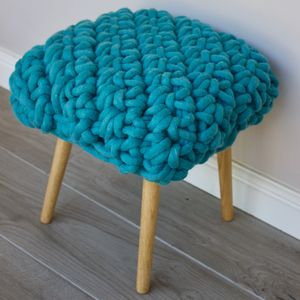 'Hermia' Handwoven Wool Footstool With Oak Legs - furniture