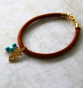 Children's Leather Bracelet With A Hamsa Charm