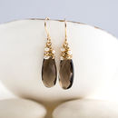 Smoky Quartz Long Drop Earrings