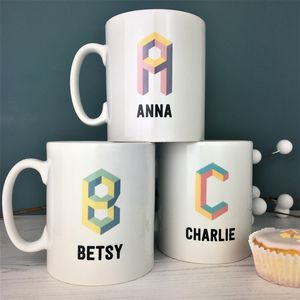 3D Geometric Initial And Name China Mug - new in home