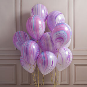 Pack Of 14 Purple Marble Party Balloons - room decorations