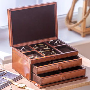 Ladies Personalised Leather Jewellery Box Large - jewellery boxes