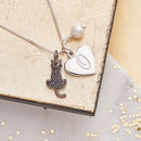 Cat Charm Personalised Silver Necklace - Black Crystal Cat