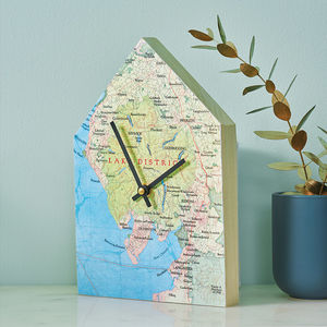 Personalised Map Location House Wall Clock - children's room