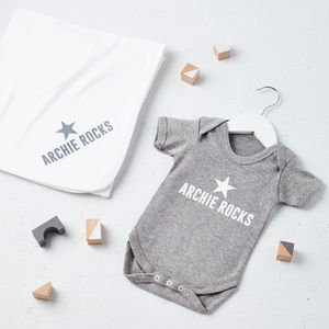 New Baby Personalised Rocks Baby Gift Set - baby's room