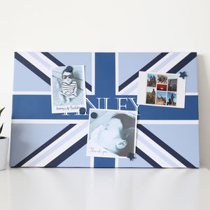 Blue Personalised Union Flag Noticeboard