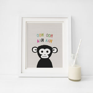 Peekaboo Monkey, Animal Print - drawings & illustrations