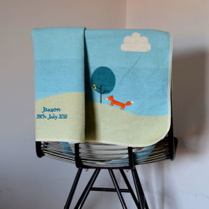 Personalised Scandi Fox Blue Baby Blanket