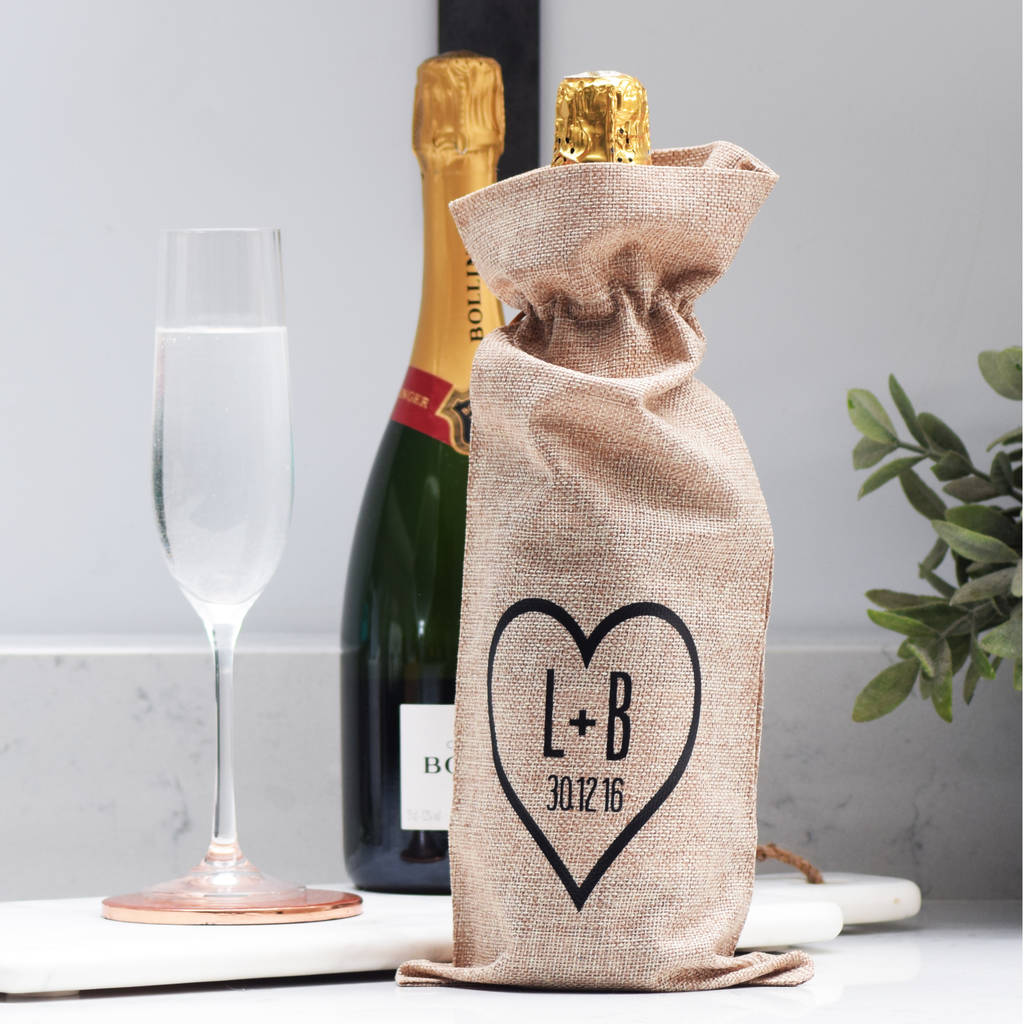 Wine As Wedding Gift: Personalised Engagement Wedding Wine Bottle Gift Bag By