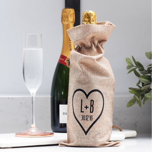 Personalised Engagement Wedding Anniversary Bottle Bag - ribbon & wrap
