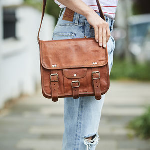 Leather Satchel With Front Pocket Midi