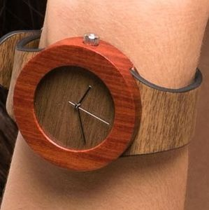 Red Sandalwood And Tan Leather Watch - men's accessories