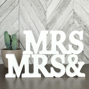 Mrs And Mrs Wooden Sign - mrs & mrs
