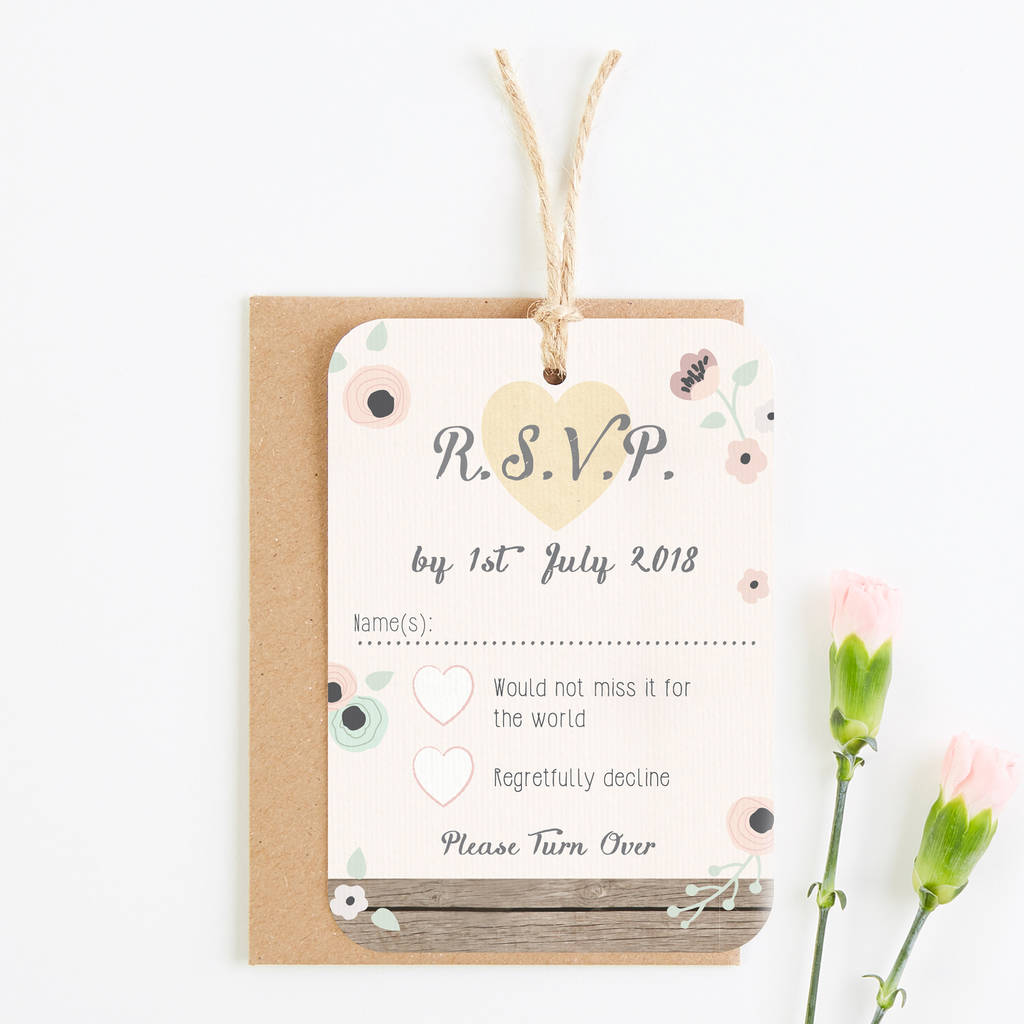 Wooden Pastel Floral Wedding Invitation Bundle By Norma Dorothy