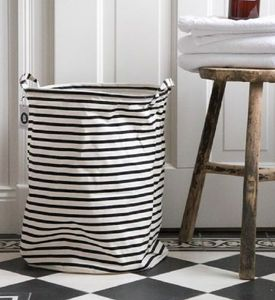 Large Striped Monochrome Laundry Basket - bedroom