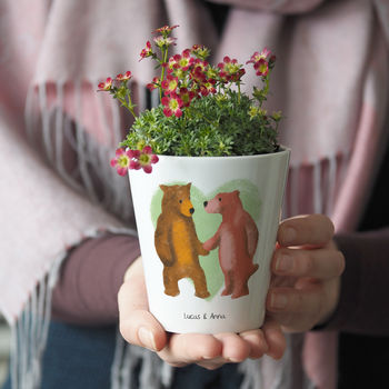 Personalised Bear Couple Plant Pot With Seeds