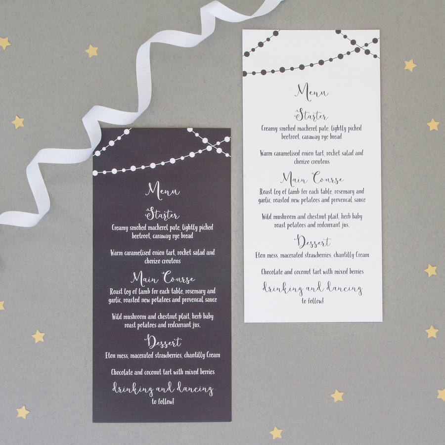 fairy lights wedding menu by the two wagtails