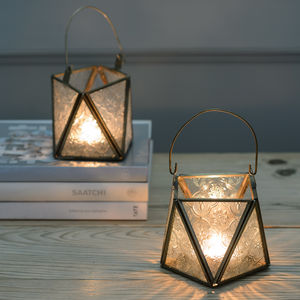 Antique Brass And Glass Hanging Tea Light Lantern