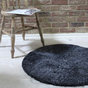 Round Grey Curly Sheepskin Rug - children's room