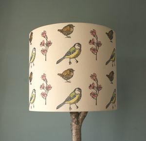 Hand Printed Bird Print Linen Lampshade - lighting
