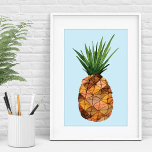 Pineapple Print Blue Watercolour Print