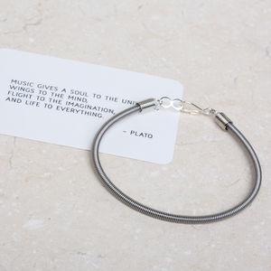Recycled Bass Guitar String Bracelet - men's jewellery