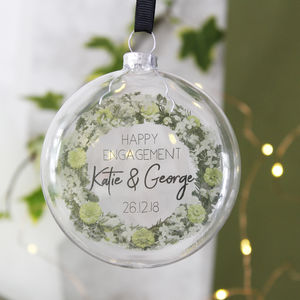Christmas Engagement Wreath Glass Bauble