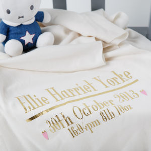 Personalised Christening Or New Baby Bed Throw Blanket - christening gifts