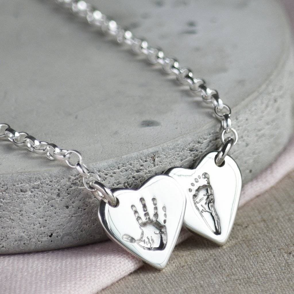 bf2ecd6d2ed67 Personalised Handprint Double Heart Necklace