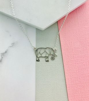 Origami Sterling Silver Elephant Necklace