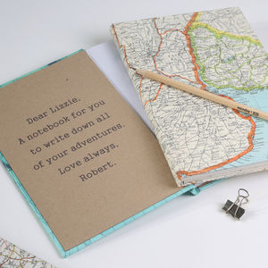 Personalised Map Location Travel Journal Notebook Gift - frequent traveller