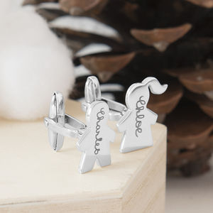 Personalised Sterling Silver People Cufflinks - cufflinks