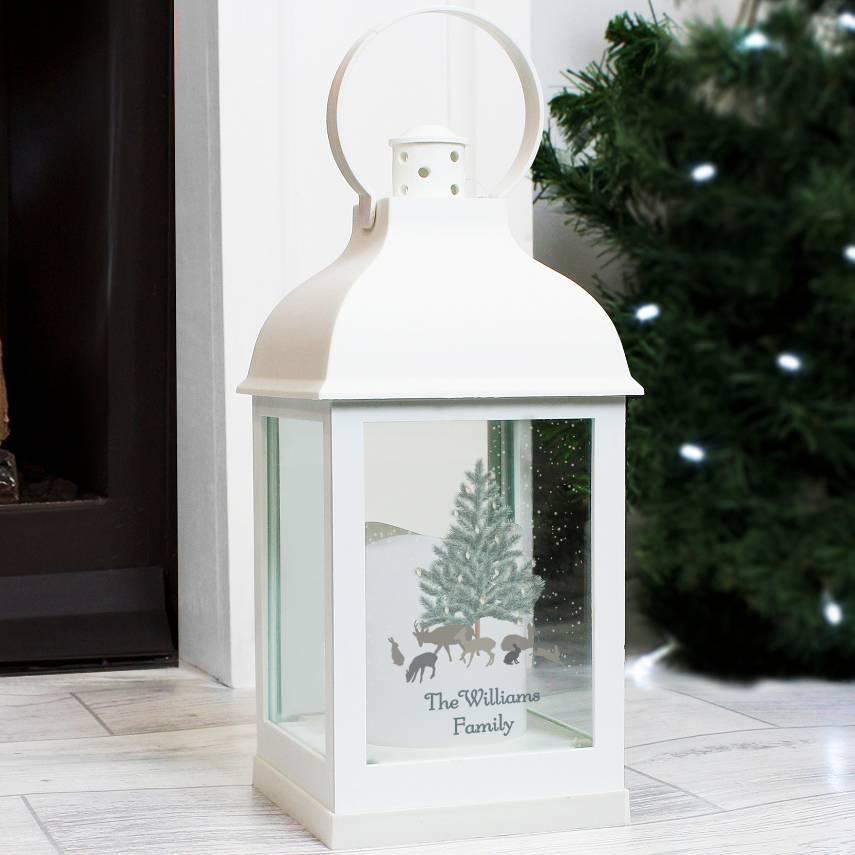 Christmas Lanterns.Personalised White Christmas Lantern