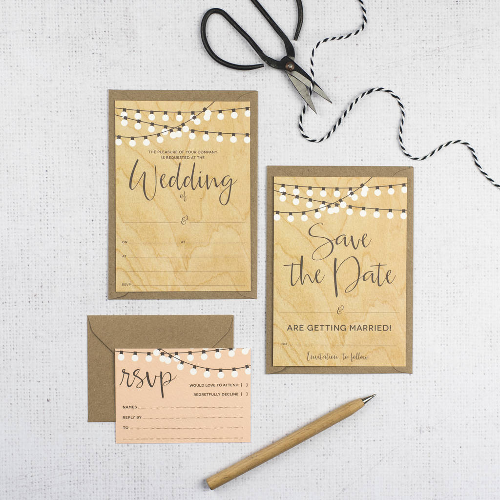 String Lights Diy Wedding Invitation Set By Russet And Gray