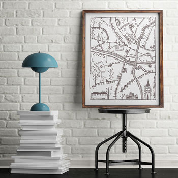 Putney Illustrated Map Print