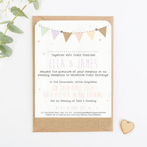 Burlap Bunting With Gems And Pearls Evening Invite - invitations