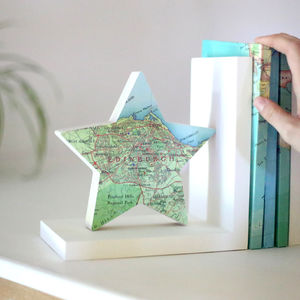 Personalised Map Location Star Bookend