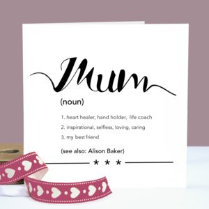 Personalised Mothers Day 'Mum' Definition Card