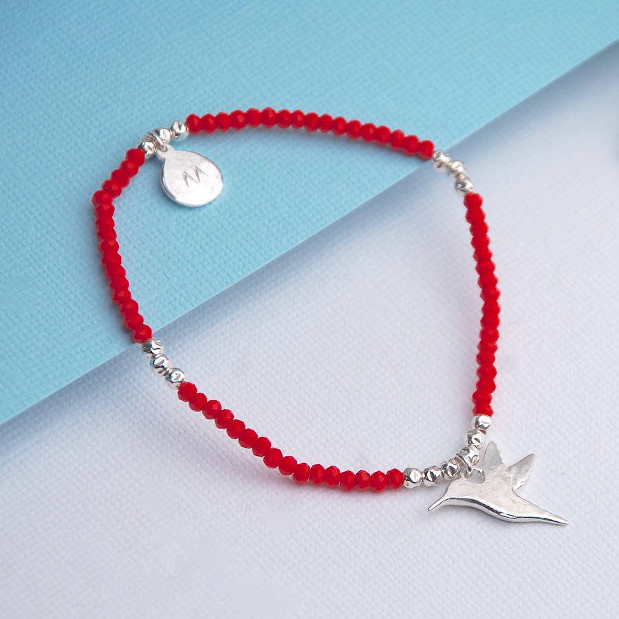 9a9c54a4a silver hummingbird and red crystal bracelet by penelopetom ...