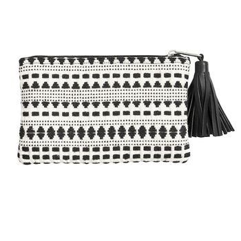 Black And White Patterned Pouch With Tassel