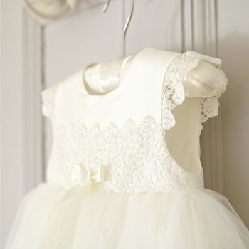 Evelyn Silk And Tulle Christening Gown