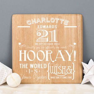 21st Birthday Personalised Wooden Print