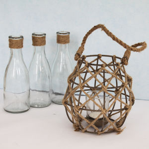 Nautical Jute Rope And Wire Lantern - home accessories
