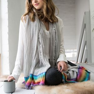 Personalised Rainbow Edged Grey Scarf - our top new picks